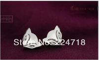Min order $10(mix order) 925 sterling silver ear studs with fox shape suitble for Tourist souvenir, wedding, staff welfare