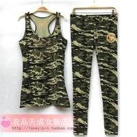 Free shipping Everlast slim plus size basic vest shirt outside sport 100% cotton camouflage set female  wholesales