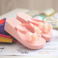 What's Hot 2014 flip flops bow women's wedges high-heeled shoes summer flat sandals platform slippers
