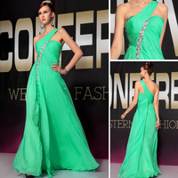 Dorisqueen 2014 Cheap floor length beaded evening dress One shoulder sweetheart formal chiffon elegant party gowns dress 30722