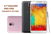 "5.7""IPS  MTK6592 Dual 8 core Air Gesture 3GB+16GB / 32GB No 3 n9000 Mobile phone 5.0MP/13MP Android 4.4 dual SIM Smart Phone"