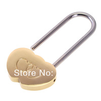 Free Shipping Wholesale 10pcs/Lot Solid Brass Love Lock Wish Lock Double Heart Padlock Everlasting Love for lovers