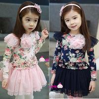 girl dresses child spring and autumn 2014 little flower girl tulle dress floral print female child long-sleeve