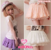 Princess sweet lolita skirt BOBON21 original design four seasons multi-layer cake ball gown lace gauze skirt mini skirt B0591