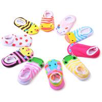 10pairs/lot 100% Cotton Lace Decoration Child Slip-Resistant Floor Socks Baby Cartoon Socks Thin Infant anti slip baby socks