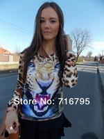 2014 Spring New women Angry Leopard Sweatshirt fashion women clothing free shipping cheap jerseys