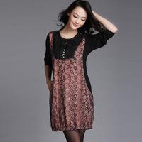 Free shipping 2014 big size clothing spring loose gauze fashion patchwork big size one-piece dress  xxxl