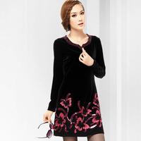 Free shipping 2014 spring big size clothing one-piece dress noble elegant applique velvet long-sleeve dress  XXXL