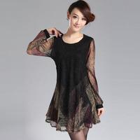 Free shipping Spring big size one-piece dress 2014 big size clothing high waist abdomen drawing gauze dress  XXXL