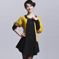 Free shipping 2014 big size clothing spring  spring fashion patchwork chiffon slim big size one-piece dress yz819  XXXL