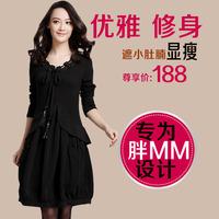 Free shipping 2013 big size  spring clothing loose slim elegant big size one-piece dress  XXXL loose slim elgant knitted s5667