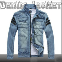 2014 Autumn winter new fashion detachable hooded men's denim jacket slim fit patchwork jean jeacket free shipping DM041