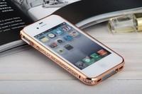Luxury aluminium sworavski rhinestone bling case cover for apple iphone 44s bumper diamond gold case at factory price