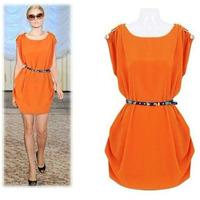 European Style 2014 fashion spring summer dress Sleeveless O-Neck Lantern dress 3 color Chiffon women dress A1001