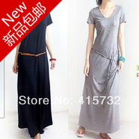 Free Shipping 2014 New Fashion Plus Size 100%  Cotton Short-sleeve V-neck Long Maxi Black And Grey Summer Stretch 6XL 9XL Women