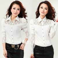 2014 Spring hot sale puff sleeve Turndown collar Chiffon OL body shirt Tops free shipping Fashion black women blouses QTT66