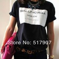 Wholesale New 2014 WOMEN SSUR COI Ballinciaga letter print short sleeve tee HI-FASHION S m l xl BLACK/ WHITE  T-shirt