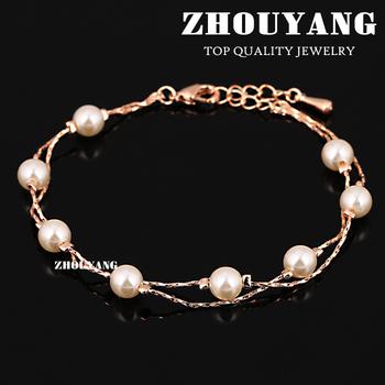 ZYH169 Elegant ImitationPearl Bracelet 18K Розовый Золото Plated Модный Jewelry Made ...