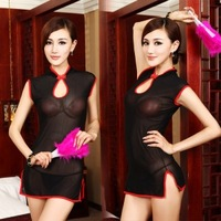 Black temptation chinese style cheongsam sexy charming temptation of uniforms adult sex products
