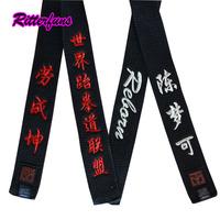 Ffree Shipping WTF ITF customize DIY Mooto taekwondo belt black color 280cm 320 cm free Embroidery High Quality