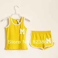 1 Set Retail Free shipping 100% Cotton Children Clothing Set, Vest+Shorts, Boys Girls Sports Suit
