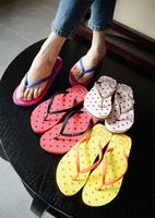What's Hot Lara 2014 female slippers summer fresh color block polka dot wedges flip flops