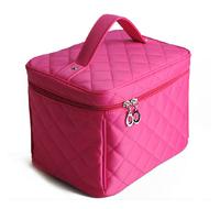 Free shipping Plaid professional cosmetic bag women's handbag box large capacity handbag cosmetic storage bag