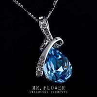 MR FLOWER hot sale brand jewelry classic design elegant style blue water drop austrian crystal women charm necklace