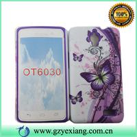 Nice looking flower design combo 2 in 1 rubber case for Alcatel OT6040