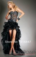 2014 Hot sale New Style Hi-Lo Black Beaded Tulle Sleeveless Party Dresses Evening Prom Dresses Custom Size Free Shipping