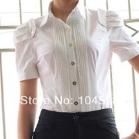 Wholesale cheap free shipping new style short sleeve puff sleeve Turndown collar fashion white OL body shirt Tops blouses QTT68