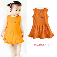 Summer cotton baby girl dress/Orange casual baby dress without underwear/2014 new arrival