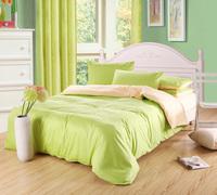 Classic Pure color Plain Mixed colors 100%cotton  Bedding Set/ Duvet Cover Bedding Sheet Bedspread  Green + Almond