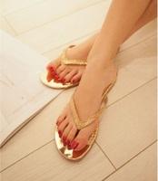 2014 new Summer fashion women Flip Flops metal bling flats paillette sandals female beach shoes casual clip toe flats