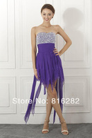 Wholesale - 2014 New Arrival  In Stock Green Sexy Short Prom Gown Sexy  Strapless Beaded Chiffon Colleage Graduation Dresses
