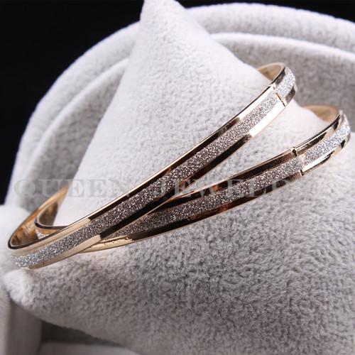 Wholesale New Jewelry 18K Gold Plated Frosting 2 Pcs/Set Bangles  B902(China (Mainland))
