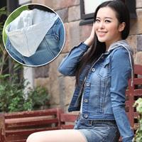 New 2014 women jacket long sleeve hooded denim jacket for women outerwear short design women tops slim denim coat