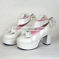 PU Leather 8cm High Heel Princess Lolita Shoes with Ribbon   as  Halloween Cosplay Shoes