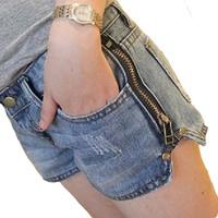 2014 summer side zipper loose plus size casual denim low-waist shorts female