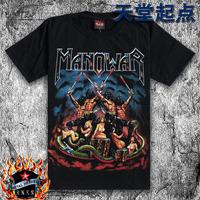 Wholesale price 100% Cotton black Men short-sleeve T-shirt loose plus size manowar band design Heavy Metal rock tee