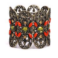 Fashion vintage gold national trend multicolour gem flower rhinestone sparkling diamond elastic bracelet