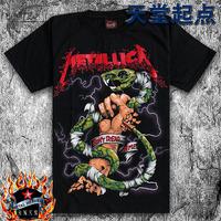 2014 Summer new Black plus size male short-sleeve T-shirt 100% cotton shirt fashion music metallica band snake pattern tee
