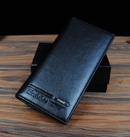 New Arrival Wholesale Price Men's Business Purse PU Leather Fashion Man Casual Long Black Wallet  WA043