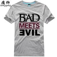 BAD MEETS EVIL plus size eminem   man summer 2014 new t shirt casual clothing fitness rock slim fit camisetas men T-SHIRTS