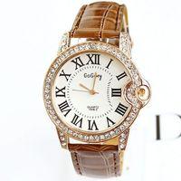 2014 Watches Women Fashion Diamonds PU Leather Wristwatches Diamonds Rome Colorful Free Shipping