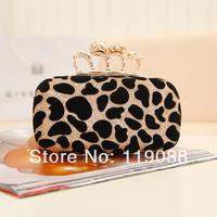 Bags 2014 small bag skull ring bag clutch bag evening bag leopard print women's day clutch handbag cosmetic bag
