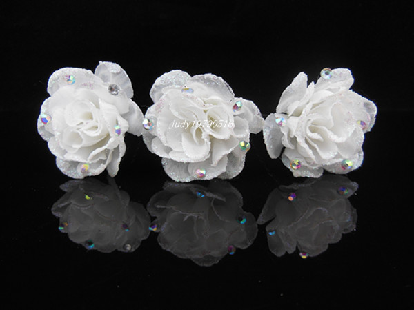 6 Pcs Bridal Party Wedding Prom White Flower Crystal Hair Pins Hair Accessory Z-6(China (Mainland))