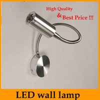 3W Aluminnum led flexible spotlight Power LED wall reading lamp led  button switch Hight Quality Retail Sale