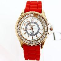 2014 Watches Women Fashion Rose Gold Wristwatches Ladies diamonds Silicon Free Shipping