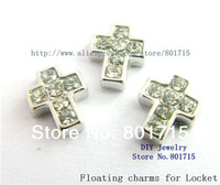 free ship 10pcs zinc alloy rhinestone cross floating charms for locket as mother Dad friend sister brother grandma gift